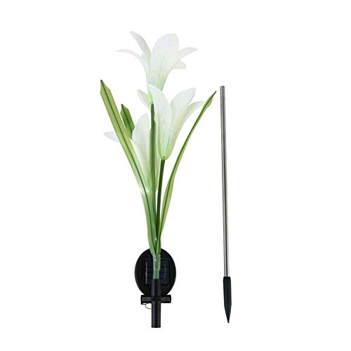 Romdink Solar-Garten-Stake Lights, künstliche Solarlilien-Blume beleuchtet solarbetriebenes Garten-Licht führte Blumen-Licht-Patio-Yard-Dekoration Size 80CM high