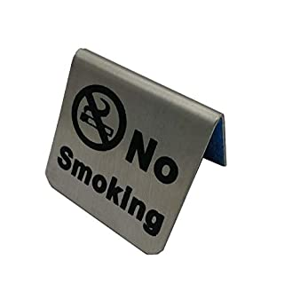 U044 Edelstahl Tischschild, Nichtraucherzeichen Zeltkarte Nicht rauchen Tafel Restaurant Hotel Nichtraucher Schreibtisch Logo Anzeige