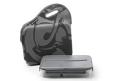 Scatola porta pranzo termico plastico, suddiviso in 3 scompartimenti, con fodera isolante, borsa termica bambini, lunbox bambini, 1l