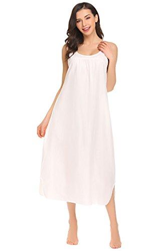 Nachthemd Damen Extra Lang Nachthemden Ärmellos Baumwolle Nachtwäsche Schlaf Kleid Locker Viktorianischer Stil Nachtkleid Weiß/Rosa (S-XXL), Weiß, XL(EU46)