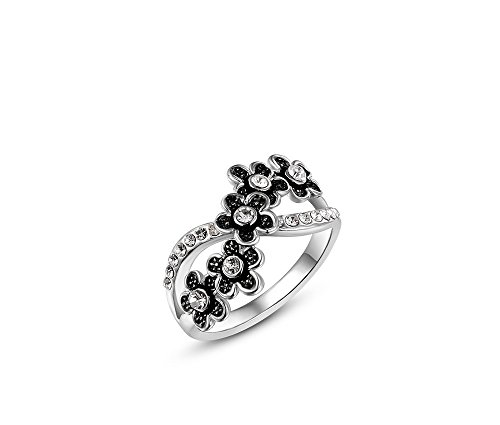 Silver Shoppee 'Blooming Love' High Quality Genuine Austrian Crystal Sterling Silver Ring For Girls and Women  available at amazon for Rs.450