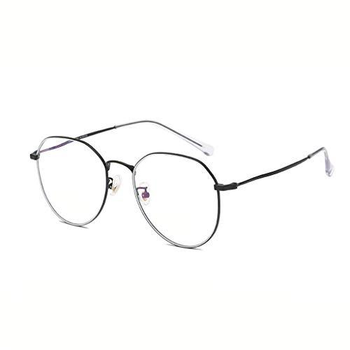 HHL Nicht Verschreibungspflichtige Gläser , Unregelmäßige Rahmen, Retro-Metallrahmen, Unisex , Zwei Farben (Farbe : SCHWARZ)