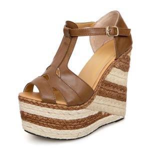 LvYuan Frauen Sommer Sandalen / Büro & Karriere / Sexy Ultra High Heel / Wasserdichte Plattform / Stroh Flechten / Wedge Ferse / Peep-Toe Gürtelschnalle / römische Schuhe Dark Brown