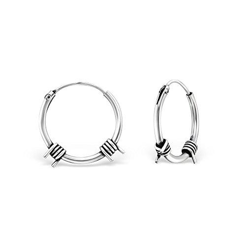 Ohrringe Creolen aus Silber 925/000rhodiniert–Creolen Stacheldraht–Durchmesser 14mm Stacheldraht Schmuck