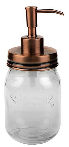 Copper Soap Dispenser Vintage 500ml | Stainless Steel | Kilner | Country Style Glass | EcoJars