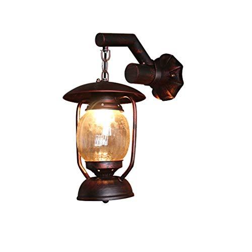 Nicht-ecc Single (American Village Petroleumlampe antike Laterne Creative Cafe Gang Balkon Dachboden Eisen Wandleuchten E27 verstellbare hängende Wandleuchte LED-Licht (Farbe: Single))