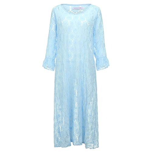Strand KleidLässige Einfarbig Plus Size V-Ausschnitt Glockenärmel Strandkleid Bohemia Lace Hollow Maxi Kleider(Blau,EU-50/CN-5XL) ()