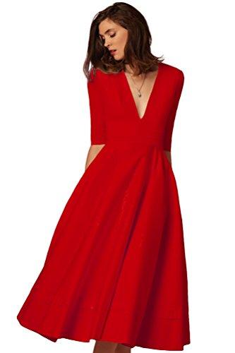 YiJee Damen Tiefer V-Ausschnitt Elegant Kleider Midi Cocktailkleid Partykleid Rot