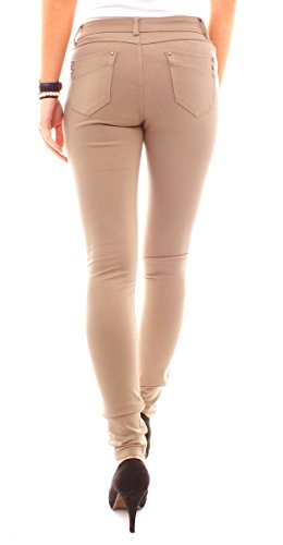 Tendance Pantalon Leggings Miss Anna Low Rise Tube hanches Jeans Skinny Coupe Marron Clair