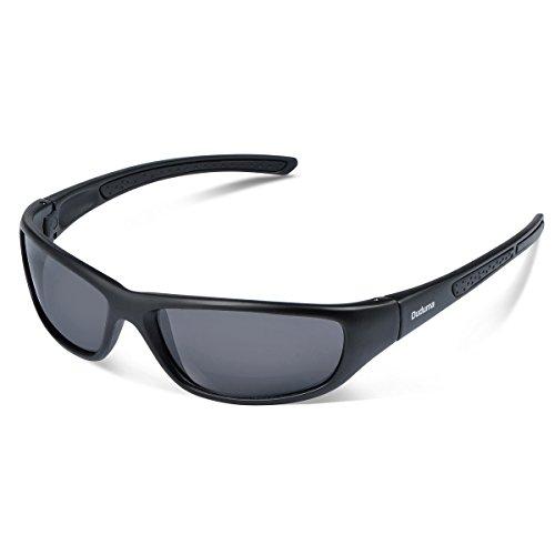 Duduma Tr8116 Polarisierter Sport Sonnenbrille für Herren und Damen Ski Fahren Golf Laufen Radsport Superleichtes Rahmen (Schwarz Matt Rahmen mit Schwarz Linse)