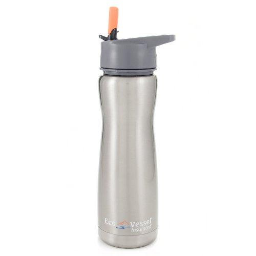 Eco Vessel Trinkflasche Summit mit Klappstrohhalm, Silver Express, 500 ml, 722604