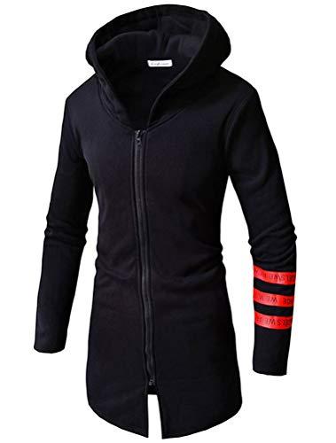 Robo felpa zip up da uomo giacca cappotti lunghi ragazzo sweatshirt sportiva con cappuccio a manica lunga xs-xl