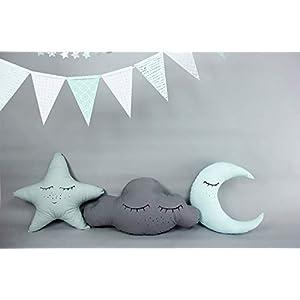 Kissenset *schlaf schön*, schlafende Wolke Stern & Mond, Baumwolle, Babyzimmer Deko, rosa oder mint, deutsche Handarbeit