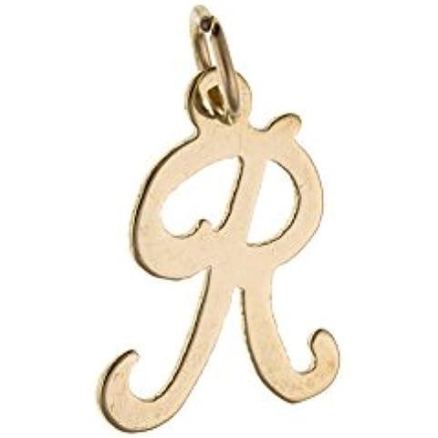 Cursiva iniciales letra R encanto medalla colgante 9ct dorado Alphabet AU0085R