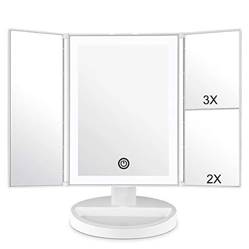 Espejo Maquillaje,WEILY Espejo Cosmético,Luz ajustable con LED,Tríptica Aumentos 1X, 2X, 3X, Rotación ajustable de 180 °, fuente de alimentación doble, espejo cosmético encimera