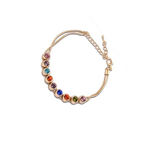 Stile Dell'Europa Strass Multicolor Catena Del Serpente Collegamento Braccialetto Braccialetto In Oro