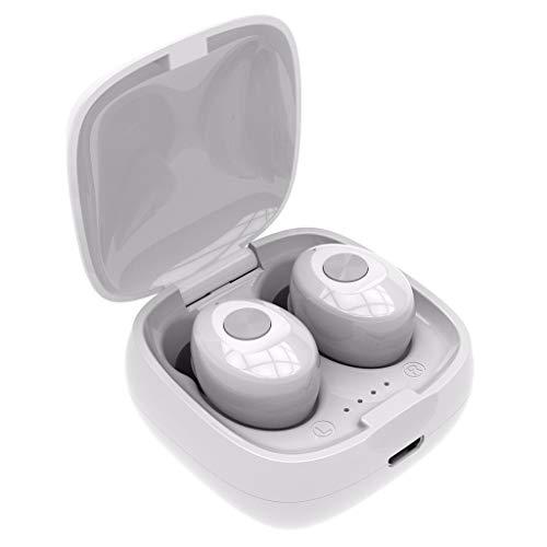 Balock Schuhe .◕‿◕.Bluetooth Kopfhörer,TWS Binaural 5.0 Bluetooth-Kopfhörer,Drahtloses wasserdichtes Mini-In-Ear-HiFi-Stereo-Sport-Headset mit Ladefach,für Laufen, Radfahren,Joggen (Weiß) - Wasserdicht Stereo Mini