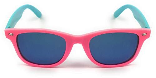 mygoodtime Sonnenbrille Kinder Brille Nerdbrille eckig Kunststoff verspiegelt UV 400 (Türkis Pink)