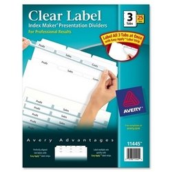 Index Maker, Laser, Punched, 3-Tabs, 25 ST/BX, 8-1/2