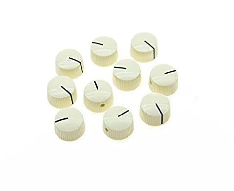 KAISH Pack of 10 Aged White Vintage Barrel Guitar Amplifier Knob Round Knobs with Set Screw