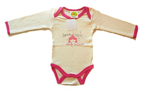 agüber Zirkus abends Theater rosa weiß Langarm-Body für Mädchen aus 100% Baumwolle Spruch-Body süß mit Motivprint und Mädchen-Body hat Druckknöpfe im Beinbereich (50/56) ()