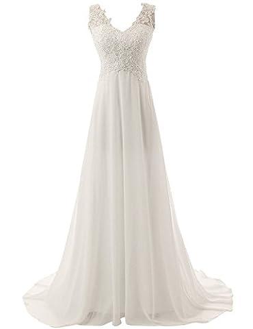 JAEDEN Elegante V-Ausschnitt Spitze Chiffon Hochzeitskleider Brautkleid Brautmode Lang Wei? EUR44