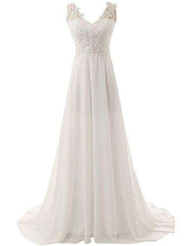 Preisvergleich Produktbild JAEDEN Elegante V-Ausschnitt Spitze Chiffon Hochzeitskleider Brautkleid Brautmode Lang Elfenbein EUR36