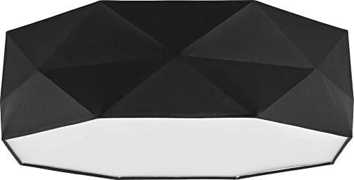Deckenlampe Lampe 52 cm Deckenleuchte 4 x E27 Schlafzimmer weiß schwarz grau Deckenleuchte für Wohnzimmer, Flur, Esszimmer, Schlazimmer 230V Leuchtmittel Metall Stoff (Schwarz 1567) -