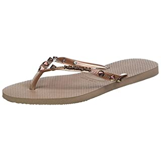 Havaianas Women's Slim Hardware Flip Flops, Pink(Rose Gold Rock), 8/9 UK 43/44 EU