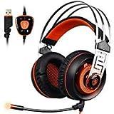 2017Sades R53,5mm Stereo Sound PC Gaming Headset, über Ohr Gaming Kopfhörer Geräuschisolierung Mikrofon Xbox One/Computer/Handys (schwarz & blau) Orange