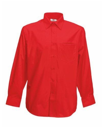 Fruit Of The Loom Poplin Hemd für Männer, langarm (3XL) (Rot) 3XL,Rot