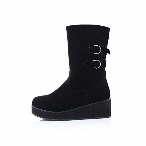 Mee Shoes Damen runder toe warm gefüttert kurzschaft Stiefel Schwarz