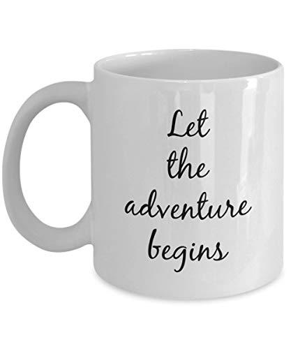 Dozili Lustige Kaffeetasse - Nützliche Ruhestand Geschenke für Frauen - Let The Adventure Begins Kaffeetasse, 325 ml, Weiß