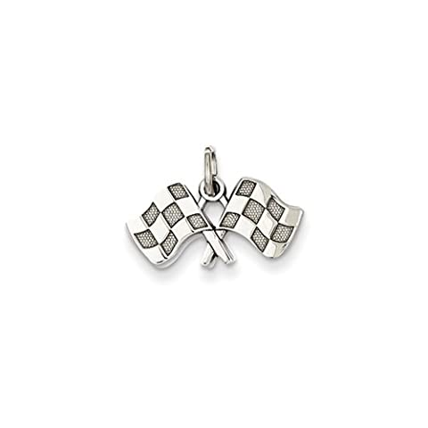 Black Bow Jewellery Company : Checkered Racing Flags Charm in 14 Karat White Gold