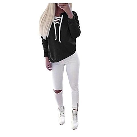 Bluestercool Femmes Automne Casual Sport à manches longues Pull à lacets Tops Chemisier à T-shirt (Noir, S)