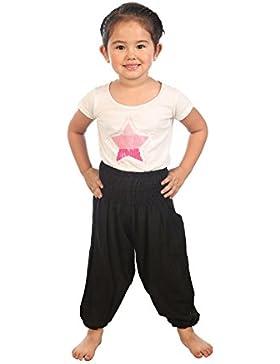 Lofbaz Niños Pantalones Harem de cintura alforzada Bohemio Aladdin pantalones