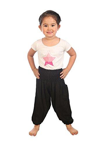 Lofbaz Kinder Solide Hippie Zigeuner Kinder Piraten Hosen Thai Bohemian Schwarz Größe 3T 3t-hose