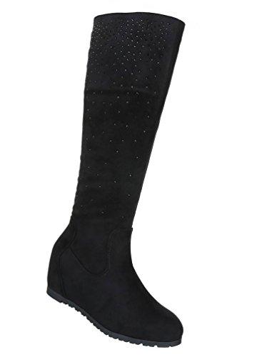 Damen Stiefel Schuhe Keilstiefel Boots Zipped Schwarz Hellbraun Rot 36 37 38 39 40 41