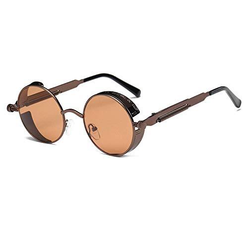 WERERT Sportbrille Sonnenbrillen Metal Round Steampunk Sunglasses Men Women Fashion Glasses Retro Frame Vintage Sunglasses Uv400
