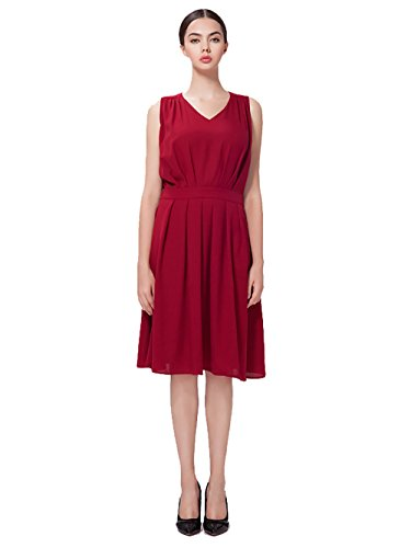 Jollychic - Robe - Plissée - Femme rouge vin