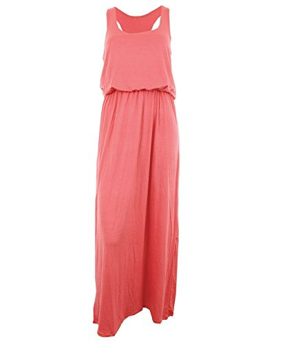 Kleid Toga Womens (koralle ML 40-42 Princess New Womens Toga Baggy Balloon Racer Muscle Back Weste Style Damen Maxi)