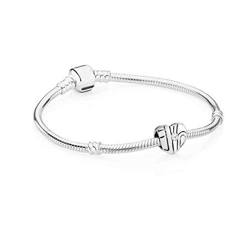AKKi jewelry Damen Beads Charm 1 Anhänger und 1 Armband Set, Edelstahl Silber Charms für Pandora Style Kompatibel 19cm
