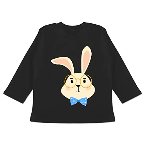 Tiermotive Baby - Süßer Hase mit Brille und Fliege - 18-24 Monate - Schwarz - BZ11 - Baby T-Shirt Langarm