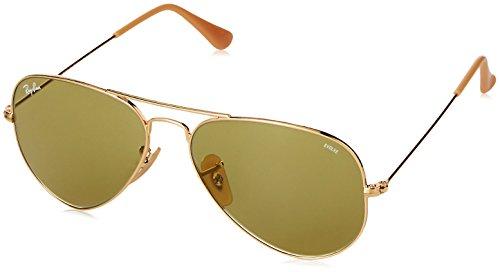RAYBAN Herren Sonnenbrille Aviator Large Metal 90644C, Gold (Gold/Photogreen), - Gold Ban Ray Sonnenbrille Herren