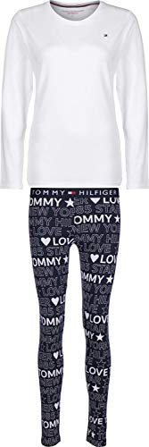 Tommy Hilfiger Long Sleeve Logo Print Pyjama Set - White/Navy Blazer Small