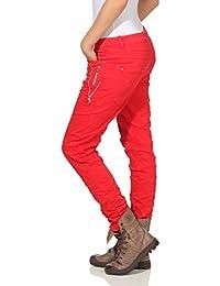 e0accdaa963439 Karostar by Lexxury Damen Jeans Moderne Lange Hose Knöpfe Chino Baggy  Boyfriend Hüfthose Stretch Skinny 21