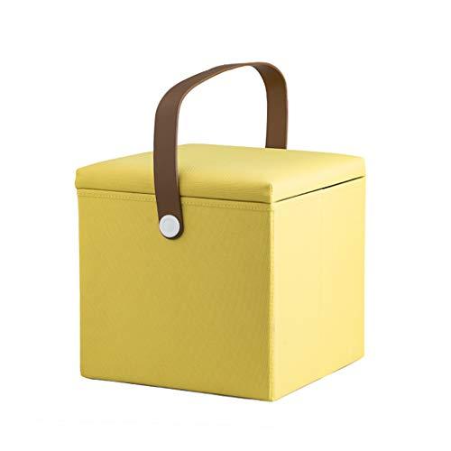 Tellgoy-Chair Faltbare Fußhocker Osmanen mit Griff, Fußstütze Hocker Oxford Tuch Stoff, Cube Change Schuh Hocker/Sitz Speicher Hocker für Spielzeug Schuh Buch Kleidung,D (Sitz Speicher-cube)