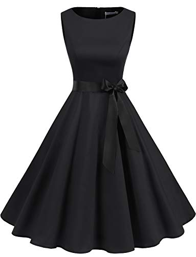 Kostüm 50er Pin Jahre Up - Gardenwed Damen 1950er Vintage Cocktailkleid Rockabilly Retro Schwingen Kleid Faltenrock Black L