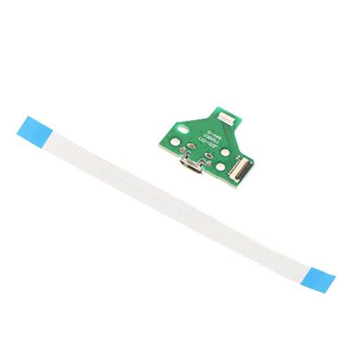 Baoblaze USB-Schnittstelle Micro USB Port Platine Board Karte mit 12-Pin. Flexkabel für SONY PS4 Spielecontroller