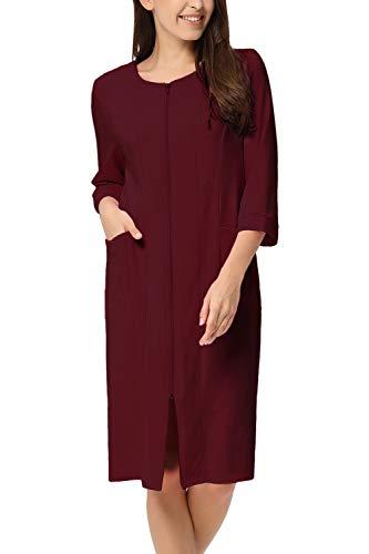 für Damen Saunamantel Flauschig Weiche Gemütliche Robe Mit Reissverschluss Rot S=36-38 ()